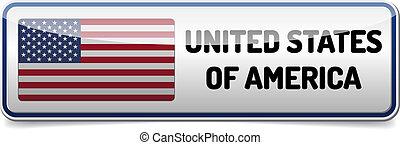 bandeira, botão, eua