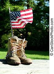 bandeira, botas, nós