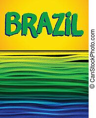 bandeira brasil, onda, verde amarelo, experiência azul
