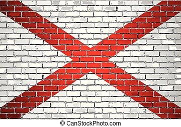 bandeira, brilhante, alabama, parede, tijolo