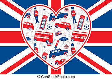 bandeira britânica, -, coração, -, londres, ícones