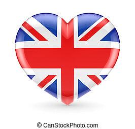bandeira britânica, ligado, um, coração, símbolo.