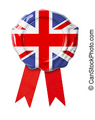 bandeira britânica, reino unido, selo, ou, fita