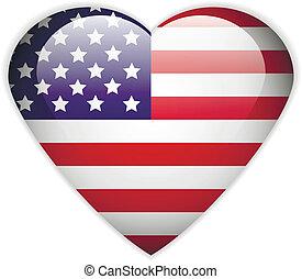 bandeira, button., eua