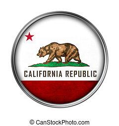 bandeira, califórnia, botão