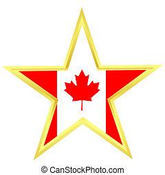 bandeira canadá, estrela, ouro