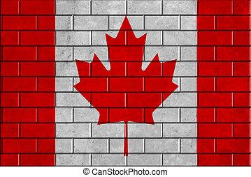bandeira canadá, parede tijolo, fundo