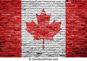 bandeira canadá, pintado, ligado, antigas, parede tijolo