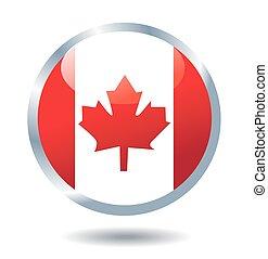 bandeira canadá, vetorial, botão