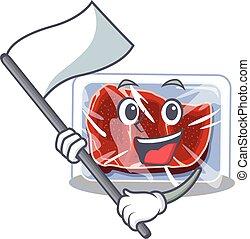 bandeira, carne, personagem, nacionalista, desenho, mascote, congelado