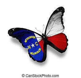 bandeira carolina norte, borboleta, isolado, branco