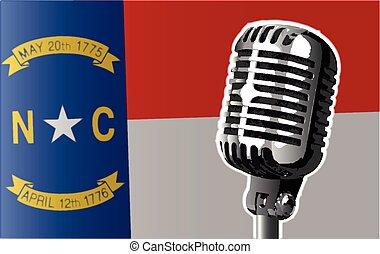 bandeira carolina norte, e, microfone