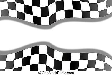 bandeira, checkered, correndo, fundo