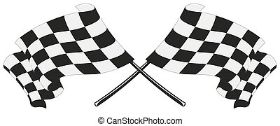 bandeira, checkered, correndo