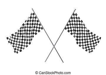 bandeira checkered, isolado, dois, fazendo, raça, cruzado, bandeiras, acabamento, branca, 3d