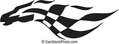 bandeira checkered, -, símbolo, correndo
