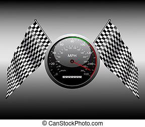 bandeira, checkered, speedometer.