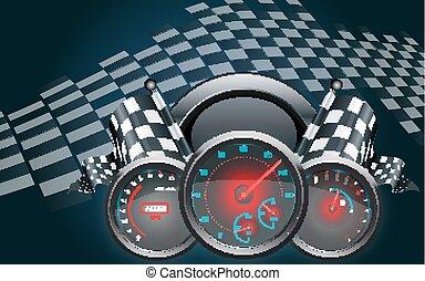 bandeira, checkered, velocímetro