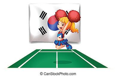 bandeira, cheerdancer, korean sul