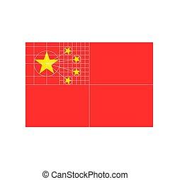 bandeira china, apartamento, desenho, vetorial, com, estrutura, de, cinco, estrelas, em, oficial, proporção