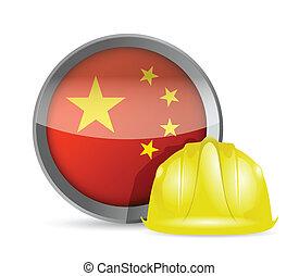 bandeira china, e, construção, capacete