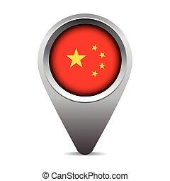bandeira china, vetorial, ponteiro