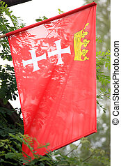 bandeira, cidade, de, gdansk, em, polônia