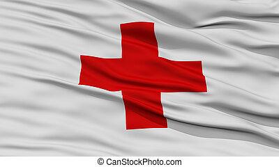 bandeira, closeup, crucifixos, vermelho