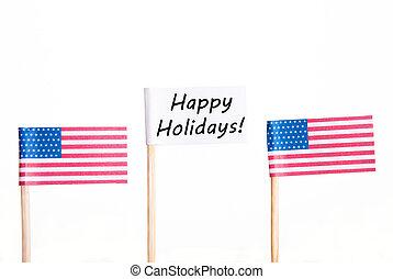 bandeira, com, feliz, feriados