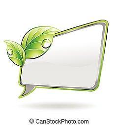 bandeira, com, verde, leaf., vetorial