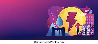 bandeira, conceito, header., hydropower