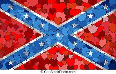bandeira confederada, feito, de, corações, fundo