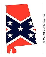 bandeira, confederado, estado alabama