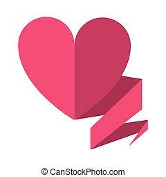 bandeira, coração, símbolo, amor, fita
