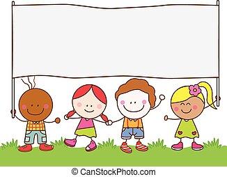 bandeira, crianças, parque, segurando
