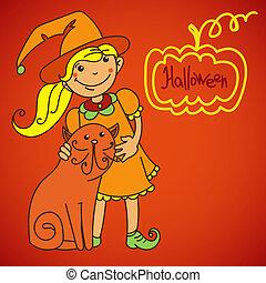 bandeira, cute, witch., desenho, seu