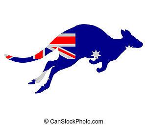 bandeira, de, austrália, com, canguru
