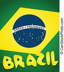bandeira, de, brasil, fundo