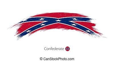 bandeira, de, confederado, em, arredondado, grunge, escova, stroke.