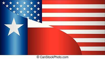 bandeira, de, eua, e, estado texas