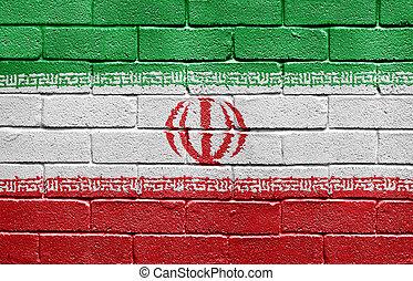 bandeira, de, irã, ligado, parede tijolo