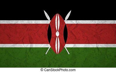 bandeira, de, kenya, com, a, efeito, de, papel amarrotado, e, grunge