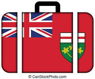 bandeira, de, ontário, província, canada., mala, ícone, viagem, e, transporte, conceito
