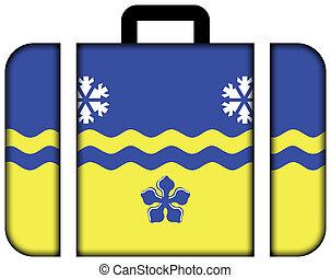 bandeira, de, príncipe george, columbia britânica, canada., mala, ícone, viagem, e, transporte, conceito