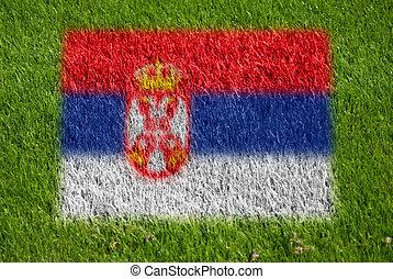 bandeira, de, sérvia, ligado, capim