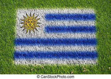 bandeira, de, uruguai, ligado, capim