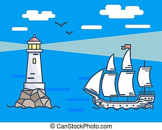 bandeira, descrevendo, farol, e, navio, mar