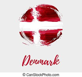 bandeira dinamarca, grunge, redondo, fundo
