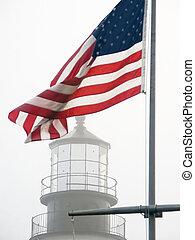 bandeira e. u., &, cabeça portland, luz, em, nevoeiro