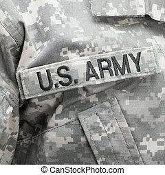 bandeira e. u., e, eua., exército, remendo, ligado, uniforme militar, -, tiro estúdio